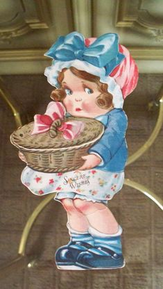 Antique Easter Card Unused  Ephemera Girl With Easter Chicks Chickens Basket Mechanical by vintagesouthwest, $9.00..    via pinterest