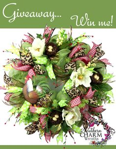 Wow she's giving away this wreath for FREE! Enter the contest for YOUR chance to win https://www.facebook.com/southerncharmwreaths/app_285472091477520