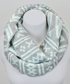 Mint & Gray Fair Isle Infinity Scarf - Leto Collection