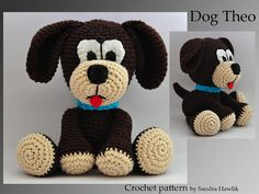 crochet pattern, amigurumi,  dog  - pdf, English or German