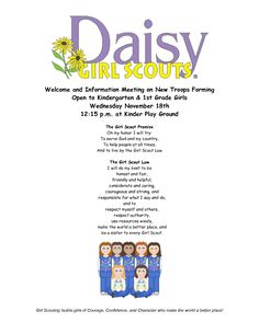 girl scout daisy first meeting | Daisy Girl Scout Flyer-1