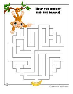 Easy Kids Mazes Easy Monkey Maze – Fantasy Jr.