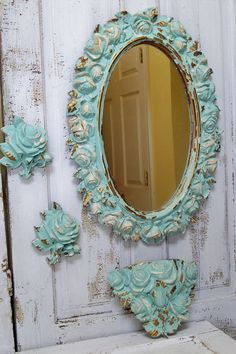 Large ornate framed wall mirror distressed sea by AnitaSperoDesign, $180.00