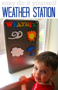 So easy- use a cookie sheet! Weather activity for kids. Even toddlers can take a turn being the weather man!