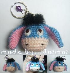 Blue Donkey: free Amigurumi crochet pattern ~ Amigurumi crochet patterns ~ K and J Dolls / K and J Publishing blue donkey, free amigurumi, chains, donkeys, winnie the pooh, crochet patterns, key rings, blues, amigurumi patterns