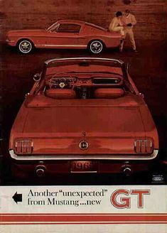 """1965 Ford Mustang GT Ad: Another """"unexpected"""" from Mustang... new GT"""