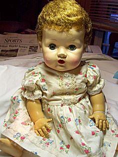 hard plastic, tear duct, plastic head, tini tear, baby dolls, brown hair, tear doll