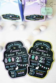 Flourish chalkboard art custom invitation.