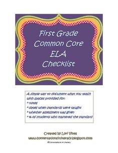 First Grade CCSS ELA Checklist: Simple Way to Document What you've taught and when and what % mastered the standards-%- other grade levels available