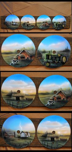 "Painting on 4 - 7"" Round Saws Mounted to a board aprox. 5"" x 28"" Hung from Black Wire $114.99  A peaceful farm setting  $114.99 FREE SHIPPING pattern"