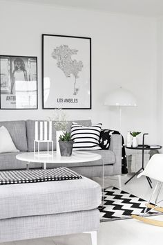45 Amazing Scandinavian Living Room Designs : 45 Amazing Scandinavian Living Room Designs With White Wall And Grey Sofa Pillow And Round Woo...