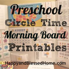 Preschool Circle Time Morning Board Printables Calendar, Telling Time, Counting Money, Seasons and more from HappyandBlessedHome.com