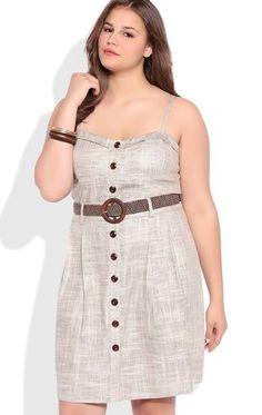 Deb Shops Plus Size Corset A Line Dress with Button Front
