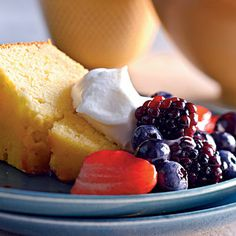 4th of July Recipes - 4th of July Recipes: Lemon-Cornmeal Pound Cake with Berries and Cream - Cooking Light