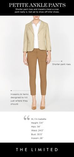 Petite Ankle Pants. Shorter pant rises and inseams mean a crop really is. Get set t show off killer shoes. THELIMITED.com #Petites #TheLimited #PerfectlyProportioned #PetiteAnklePants #LTDPetites shorter pant, random fashion, ankl pant, gamin style, shop list, petit style