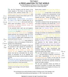 Family Proclamation Color Coded with YW values! camp, young women activities, lds youth activities, color, famili proclam, young women value printables, yw activities lds, lds young women lessons, family young women lesson