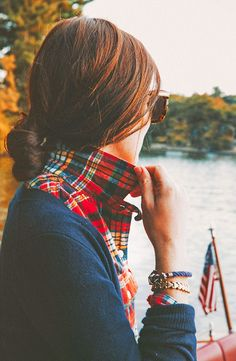 Plaid button down + Navy cardi
