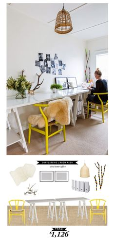 Recreate this airy home office for a little over $1000! Very tempting. Nice job @audreycdyer! #roomredo