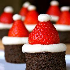 holiday, christmas parties, christmas desserts, food, strawberry santas, brownie bites, christmas treats, white stuff, whipped cream