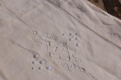 "Vintage French ""Fleur Bleue' embroidered linen sheet - Grainsack Home & Garden (www.grainsack.co.uk)"
