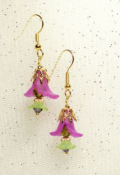 Pastel purple and green Calla Lily and tulip earrings by YOUniqueDZigns, $12.00