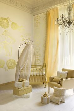 Lovely gold furniture and wall decor in this girly #nursery.