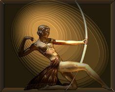 Diana ......roman goddess of the hunt  original ,signed .ART DECO figurine, 1928 Paris, metal and a huge ivory bow
