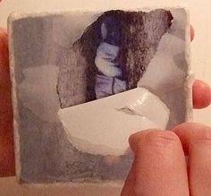 photo transfer tile, uniqu scrapbook, paper, accent tile