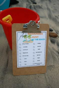 """The Red Balloon: Scavenger Hunt at the Beach...like the idea of an activity """"busy bag"""" for each kid, age appropriate. Bring it out at the beach only as a surprise!"""