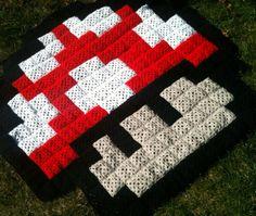Mario granny square crochet blanket