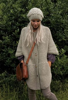 Cape style coat from Cherished book, in Rowan Felted Tweed aran and Moon lacey hat in Cocoon.