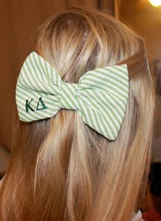 Greek Letters Bow Tie Style Seersucker Hair Bow by devonalana this would be so cute as ast! greek letter, bow ties, monogram, letter bow, sorority crafting, meaningful gifts, hair bows, kappa delta, christmas gifts