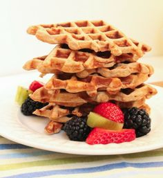 Vanilla Fruit Explosion Protein Waffles - Eat Spin Run Repeat #healthy #cleaneating #recipe #breakfast #glutenfree #breakfast #fitfuel #eatclean