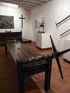 Palace of the Inquisition - Cartagena, Colombia. This photo shows the instruments of torture used by the Catholic Church to impose Christianity in Colombia. The Inquisition came late to Colombia. For more than 200 years, between 1610 and 1821, unspeakable acts of cruelty were committed by the priests of the Inquisition at this particular Catholic torture factory, which was only shut down in 1821 when Colombia achieved independence.
