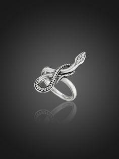 Sterling silver diamond snake ring