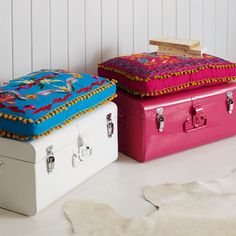 For a college dorm this would be a cute way to charm storage space and to create a place to sit!