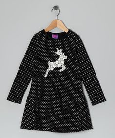 Take a look at this Black Rhinestone Reindeer Dress - Infant, Toddler & Girls by CR Cute on #zulily today!