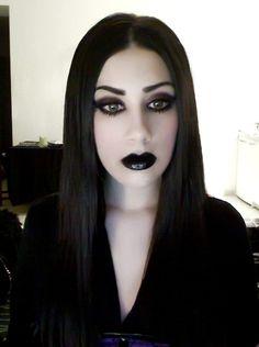 . gothic chick, fierc face, hail satan, awesom dark
