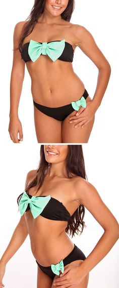 Black Bikini with a Mint Bow!