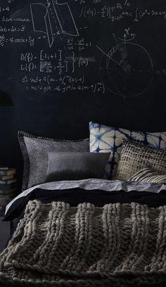 Grey bedroom, masculine, chalkboard, knit.