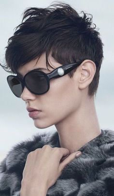 "Cute Messy and Edgy Haircut. Perfect for your ""starter"" look in trying to grow out the top."