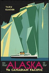 Vintage travel poster. #keen #recess #alaska #glaciers
