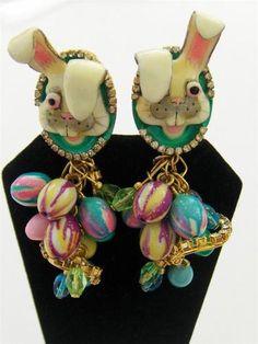 Lunch at the Ritz Rhinestone enamel Easter bunny earrings