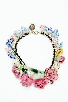 #jewelry #necklace #statement #floral #retro #romantic #fashion #unique #fabulous #original #bird #porcelain