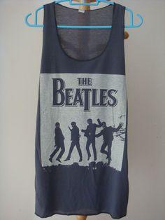THE BEATLES ROCK BAND Vintage sexy GREY Tank Top Vest Singlet women T-Shirt  L