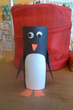 Penguin from a toilet paper roll