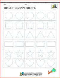 Shape tracing worksheets Trace the Shape Sheet 5
