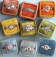 vintag ring, vintage engagement rings, diamond rings, vintage weddings, blue, dream, vintage rings, box, wedding rings