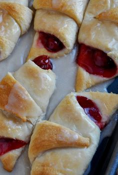 Easy Cherry Turnovers. These sweet little breakfast pastries are not only easy to make, but they're the perfect blend of buttery pastry dough, tart cherries and sweet, creamy glaze. Enjoy!