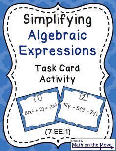 FREEBIE - Simplifying Algebraic Expressions SCOOT!
